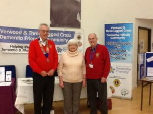 Lions Club members wih a Verwood Dementia Friends representative making use of their banners